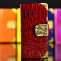 Luxury Diamond Bling Hand Bag For iPhone 5S PU Leather Crocodile Flip Cover Case Wallet for Iphone5 Case FREE SHIPPING