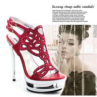 [Free shipping] exclusive 2014 New arrival fashion female banquet 14cm ultra high heels platform thin heels cutout sandals women