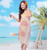 Elegant  New style  Fashion Saress Bikini Wrap Dress Women's Sarong Swim cover-ups Cross Beach dress Feather