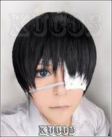 Tokyo Ghoul Ken Kaneki Short black cosplay wig costume eyepatch