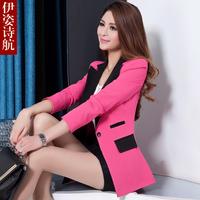 2015 spring slim blazer outerwear long-sleeve medium-long blazer feminino plus size m-3xl free shipping 15