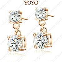 18K Rose Gold Plated EarDrop Use Shining Austria Crystal Simulated  Diamond Earring(YOYO E113R1)