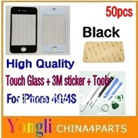 50pcs/lot, Balck, LCD Top Front Glass Outer Glass Lens Cover for iPhone 4G/4S + 3M Sticker + Tools, Free Shipping
