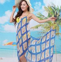 Grace  New style  Fashion Saress Bikini Wrap Dress Women's Sarong Swim cover-ups Cross Beach dress Feather