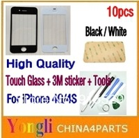 10pcs/lot,Black and White, LCD Top Front Glass Outer Glass Lens Cover for iPhone 4G/4S + 3M Sticker + Tools, Free Shipping