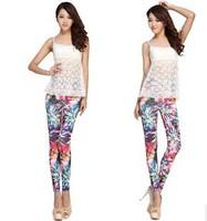 2014 new Sell like hot fashion sexy toning milk silk High elastic flowers graffiti Women leggings leisure personality Ms panty