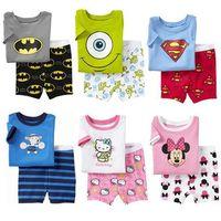 Retail boy girl Superman,Minnie,Batman patterns cotton short pajamas suit homewear children's clothing set for 2-7ages Kid