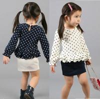 new 2014 Summer clothing children set(t-shirt+skirts) Fashion casual polka dot set baby girls sets 5sets/lot  size100-140cm