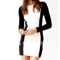 Fashion New Women's Long Sleeve Black&White Patchwork Front Slim Mini Skirt Dress S/M/L 651710