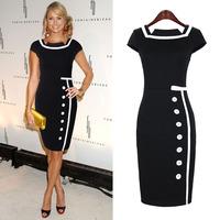2014 spring fashion vintage elegant patchwork color block one-piece dress single breasted plus size dress high waist skirt