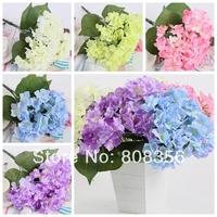 """2Pcs/lot 38cm/14.96"""" Length Five Colors Six Flower Heads Artificial Simulation Hydrangea Bush Home Decoration Wedding Flowers"""