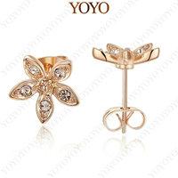 Cute Ear Studs 18K Rose Gold Plated Shining Austria Crystal Five Star Flower Earrings (YOYO E118R1)