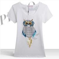 New Fashion 2014 Spring Summer Tee Shirts Print Animal Owl Plus Size Women Clothing Short Sleeve Slim T Shirt  XXXL