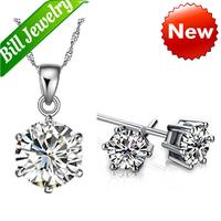 Free Shipping Wholesale lots New Arrival Fashion Rhinestone Zircon Pendant Necklace Earrings Jewelry Sets