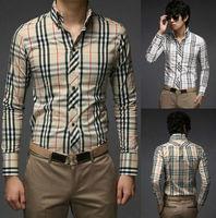 Mens Luxury Stylish Casual Stripe Plaid Shirts Slim Fit Cardigans 2 Colours 4 Size