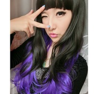 Fashion Long Wavy Curly Cosplay Evening Party Lady Fashion Full Wig Wigs Hair Free Shipping