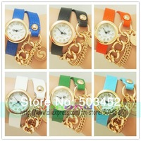 Cowboy Chain Steel Bracelet Watc Gold Watch Case Leather Watch Fashion Candy Colors Ladies Quartz Watch 400pcs/lot  6 Colors