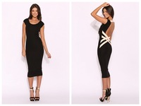 new fashion 2014 women Sexy Bandage Bodycon tunic backless mid calf-length open back Dress Club Wear Vestido De Festa Saia