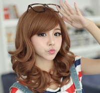 Sweet Sexy Medium Long Wavy Curly Party Lady Fashion Full Wig Wigs Hair Oblique bangs Free Shipping