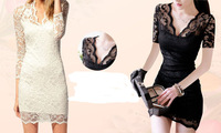 Free shipping summer dress Ladies' Sexy Flower Scalloped Neck Middle Sleeve Women's party evening elegant Lace DressWD112101