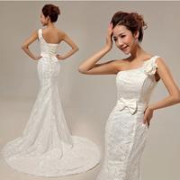 2014 hot selling new fishtail wedding dress single shoulder Korean Slim retro lace wedding gown brand design bridal dress