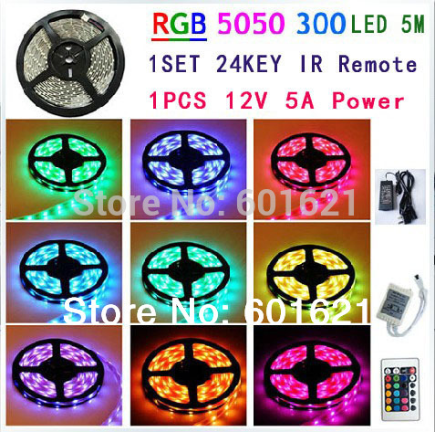 Free shipping RGB 5M 5050 300 LED SMD Flexible Lamp Light strip colorful rgb led strip+24 key IR+12V DC 5A Power adapter(China (Mainland))