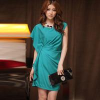 Free shipping Fashion star fashion ruffle irregular chiffon dress one-piece dress plus size clothing mm