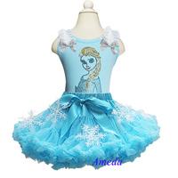 Turquoise Blue Snowflake Pettiskirt Elsa Rhinestone Princess Blue Tank Top Party Dress Costume 1-7Y