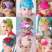 Cuter!!! New Fashion Hot Infant Baby Toddler Feather Flower Diamond Bow Headband Soft Headwear Hair Band Free Shipping HO300015