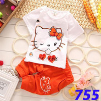 2014 new fashion summer retail lover cat baby girl kids clothes set,baby clothing,girls clothing sets