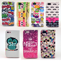 50Pcs/Lot Cute Cartoon Side Flip Leather Case Cover with Card Slot Stand For iPhone 5S 5G