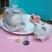 Free shipping 50pcs/lot Ceramic Mini-Piggy Bank in Gift Box with Polka-Dot Bow  party gifts Baby shower favors