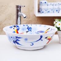 Bathroom washbasin handmade colored drawing ceramic technology counter basin 1119