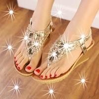 2014 summer bohemia women's shoes dazzling diamond beaded rhinestone wedges sandals flip