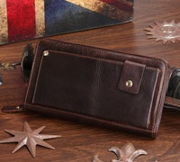 8019C 2014 New Classic Coffee Vintage Real Leather Men Mini Wallet Purse Key Case Men's Hand bag