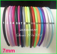 7mm Width 20 Colors 40pcs/lot Top Quality Adult Baby Kids Satin Headbands Children Ribbon Headbands Hair Band Free Shipping
