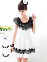 2014European and American Style Summer Woman Solid Lace Mini Prom Dress Fashion Slim Cute White Empire Puff Sleeve Chiffon Dress