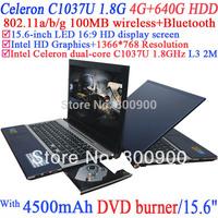 Intel C1037u laptop with15.6 inch LED 16:9 HD screen Celeron 1037U 1.8Ghz Ivy Bridge 22nm 2 Mega Pixels camera 4G RAM 640G HDD