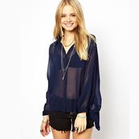 XS - XXL Dark Blue Chiffon Sheer Shirts, Women Loose Long-sleeve Turn-down Collar Tops, 2014 Spring Summer New Fashion Plus Size