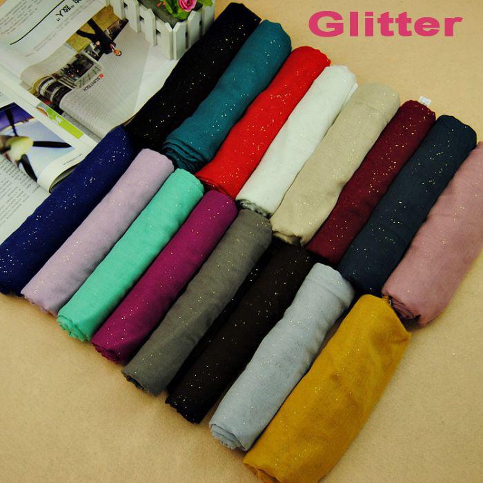 women printe glitter solid pure color plain 100% viscose muslim long hijab popular wrap scarf/shawls scarves 180*90cm(China (Mainland))