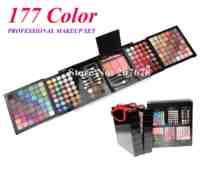 Free Shipping 177 Color PRO Makeup Set Eyeshadow Palette Blush Lip Gloss Brow Shader Concealer Eyeshadow Gel + Brush