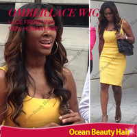 SALE!! Virgin Two Tone Ombre Lace Wig Body wave Brazilian Human Hair Lace Front Wigs For African Americans&Black Women Glueless