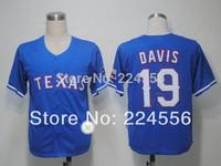 Texas Rangers 19# Chris Davis blue Baseball Jerseys Cool Base Embroidery logos Free Shipping Mix Order