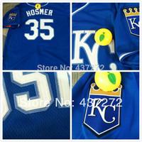 cheap free Shipping 2014 stitched Kansas City Royals Jersey #35 Eric Hosmer Blue Cool Base KC on fornt Baseball Jerseys