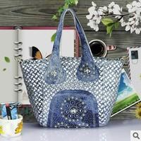 Recommend! New 2014 Manual Rhinestone Women tote bag Fashion Splice Cowboys and PU Bag Cool Bag! Free shipping