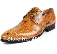 free shipping 2014 Men's fashion new snakeskin grain business low help shoes