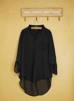 2014 Limited Sale Freeshipping Pockets Long Hitz European And American Women May Be Chock Pullover Loose Chiffon Shirt Big Yards