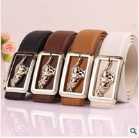 2014 European Male Fashion Boutique Leather Belts Men's Brand Alloy Wolf Alloy Buckle Leather Belts Noble Luxury Business Belts
