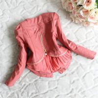 Retail fashion long sleeve kids girls leather jacket Beads zipper lace chiffon kids apparels children clothing free shipping