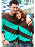 M,L,XL,XXL,XXXL Plus Size 2014 New Fashion Casual Stripe Loose Long-sleeve Lovers Sweatshirt Women Man's T-shirt